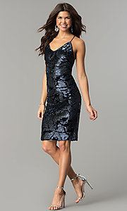 Image of knee-length blue velvet party dress with sequins. Style: AC-DA23984B Detail Image 2