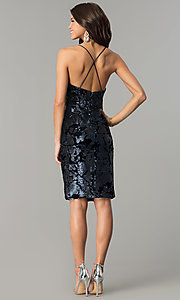 Image of knee-length blue velvet party dress with sequins. Style: AC-DA23984B Detail Image 3