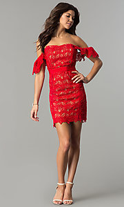Image of short red lace off-the-shoulder holiday party dress. Style: AC-DA23953B Detail Image 2