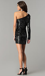 Image of short one-shoulder black velvet holiday party dress. Style: AC-DH24116A Detail Image 3