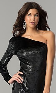 Image of short one-shoulder black velvet holiday party dress. Style: AC-DH24116A Detail Image 1