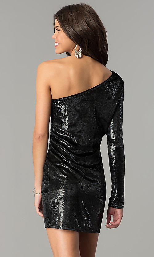 Image of short one-shoulder black velvet holiday party dress. Style: AC-DH24116A Back Image