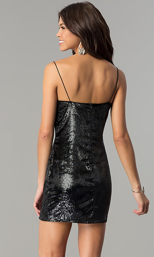 Image of velvet short black holiday party mini dress. Style: AC-DH24118A Back Image
