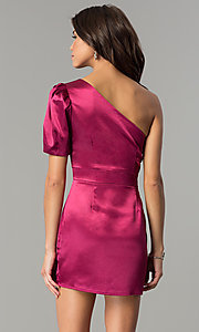 Image of semi-formal designer magenta pink party dress. Style: AC-DH24128A Back Image