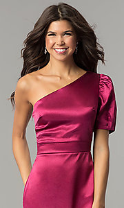 Image of semi-formal designer magenta pink party dress. Style: AC-DH24128A Detail Image 1