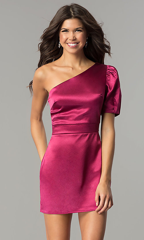 One Shoulder Magenta Pink Short Party Dress Promgirl
