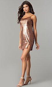 Image of designer bronze gold reversible-sequin party dress. Style: AC-DH24140A Detail Image 1