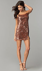 Image of designer bronze gold reversible-sequin party dress. Style: AC-DH24140A Detail Image 3