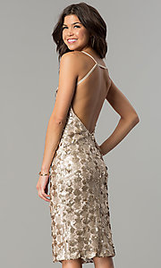 Image of knee-length sequin party dress with open back. Style: AC-DS23978T Back Image