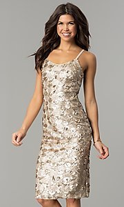 Image of knee-length sequin party dress with open back. Style: AC-DS23978T Front Image