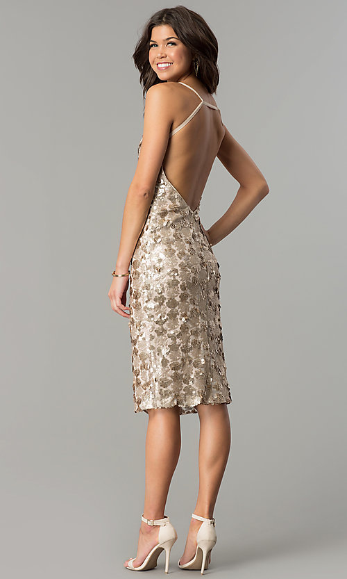 Image of knee-length sequin party dress with open back. Style: AC-DS23978T Detail Image 3