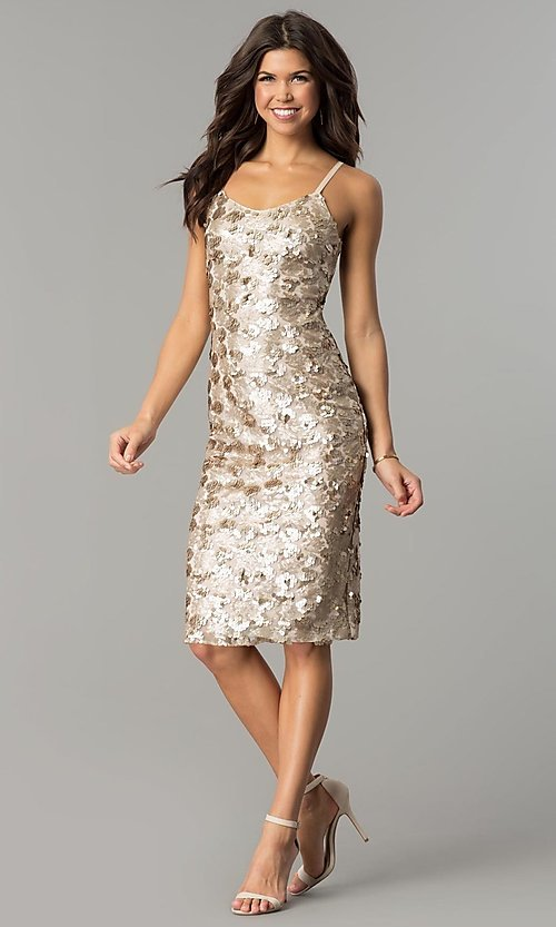 Image of knee-length sequin party dress with open back. Style: AC-DS23978T Detail Image 2