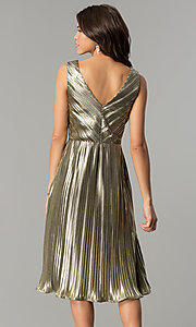 Image of short holiday party dress in metallic-gold lame. Style: AC-DS24048B Back Image