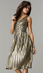 Image of short holiday party dress in metallic-gold lame. Style: AC-DS24048B Front Image