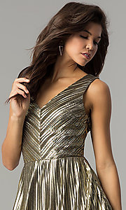 Image of short holiday party dress in metallic-gold lame. Style: AC-DS24048B Detail Image 1