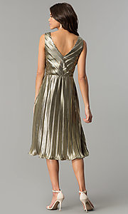 Image of short holiday party dress in metallic-gold lame. Style: AC-DS24048B Detail Image 3