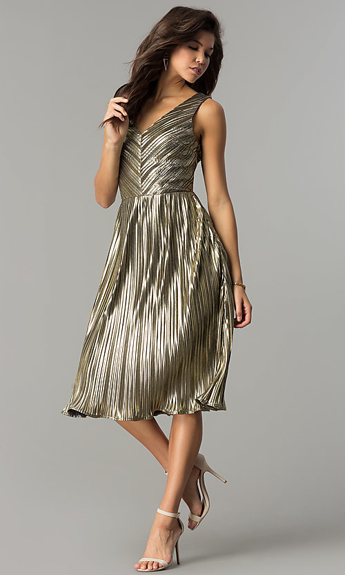 Image of short holiday party dress in metallic-gold lame. Style: AC-DS24048B Detail Image 2