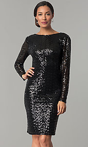 Sleeved Cowl-Back Short Black Sequin Party Dress