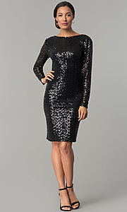 Image of sleeved cowl-back short black sequin party dress Style: JU-MA-263845 Detail Image 1