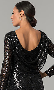 Image of sleeved cowl-back short black sequin party dress Style: JU-MA-263845 Detail Image 3