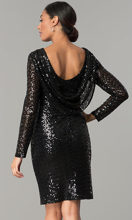 Image of sleeved cowl-back short black sequin party dress Style: JU-MA-263845 Back Image