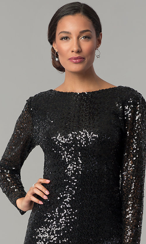 Image of sleeved cowl-back short black sequin party dress Style: JU-MA-263845 Detail Image 2