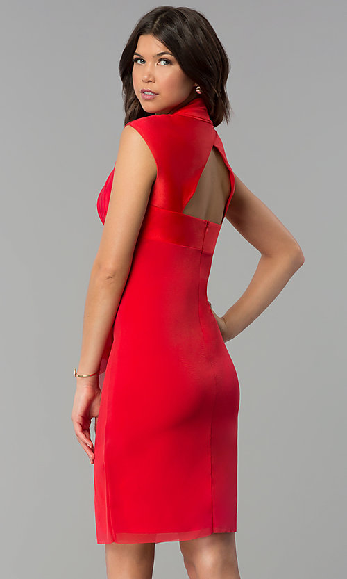 Image of short party dress with Queen Ann neckline. Style: JU-MA-264830 Back Image