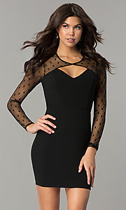 Short Black Long-Sleeve Holiday Party Dress