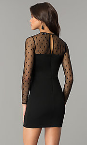 Image of short black long-sleeve holiday party dress. Style: AS-a6658d4a51 Back Image