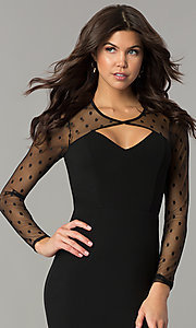 Image of short black long-sleeve holiday party dress. Style: AS-a6658d4a51 Detail Image 1