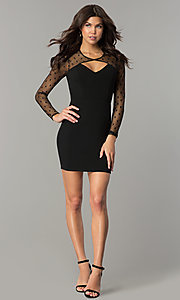 Image of short black long-sleeve holiday party dress. Style: AS-a6658d4a51 Detail Image 2