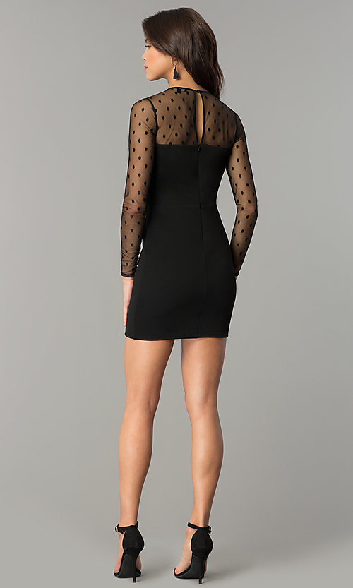 Image of short black long-sleeve holiday party dress. Style: AS-a6658d4a51 Detail Image 3