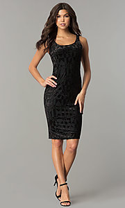Image of velvet-print knee-length holiday party dress. Style: AS-47086961 Detail Image 3