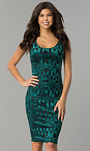 Image of velvet-print knee-length holiday party dress. Style: AS-47086961 Front Image