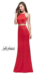 Strappy Open-Back Two-Piece Prom Dress