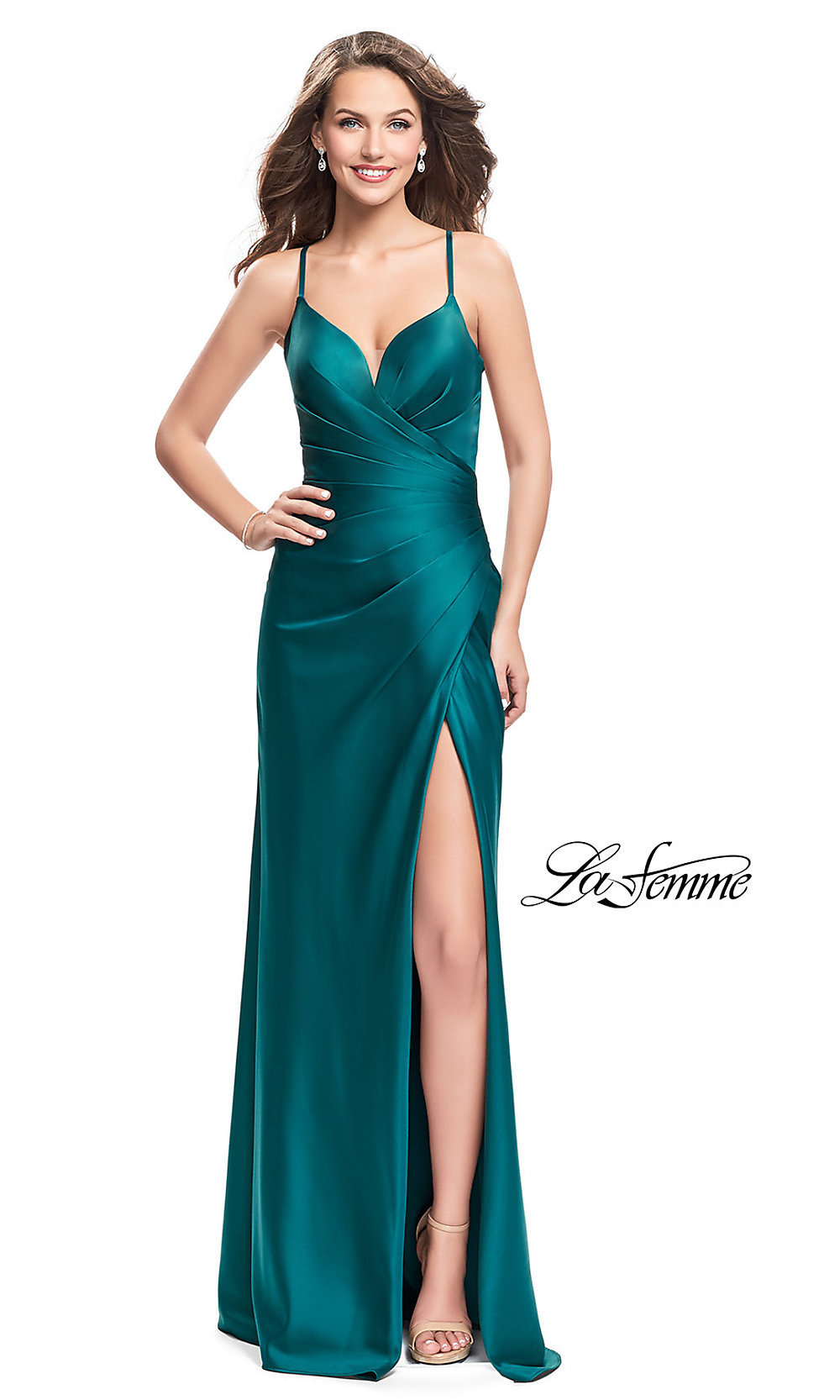formal open back dress by la femme 17167