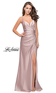 Image of La Femme ruched satin open-back formal prom dress. Style: LF-25270 Detail Image 1