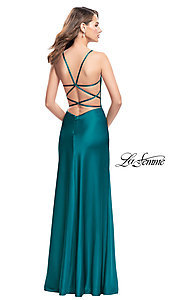 Image of La Femme ruched satin open-back formal prom dress. Style: LF-25270 Back Image