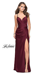 La Femme Ruched Satin Open-Back Formal Prom Dress