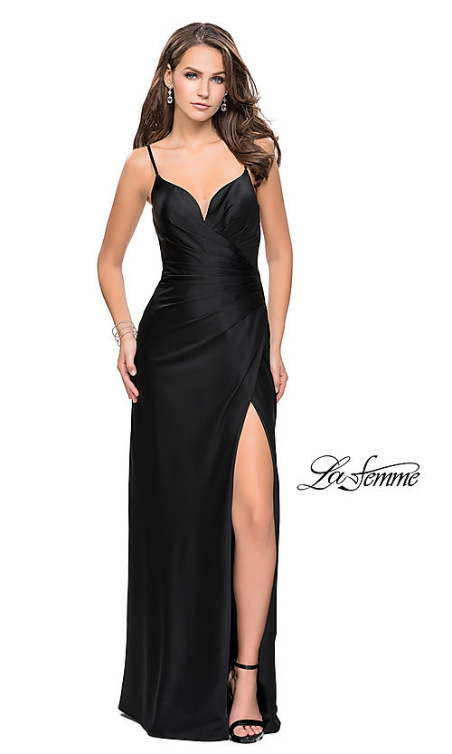 Image of La Femme ruched satin open-back formal prom dress. Style: LF-25270 Detail Image 2