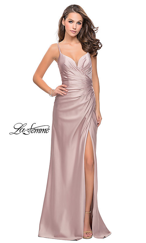 Image of La Femme ruched satin open-back formal prom dress. Style: LF-25270 Detail Image 3
