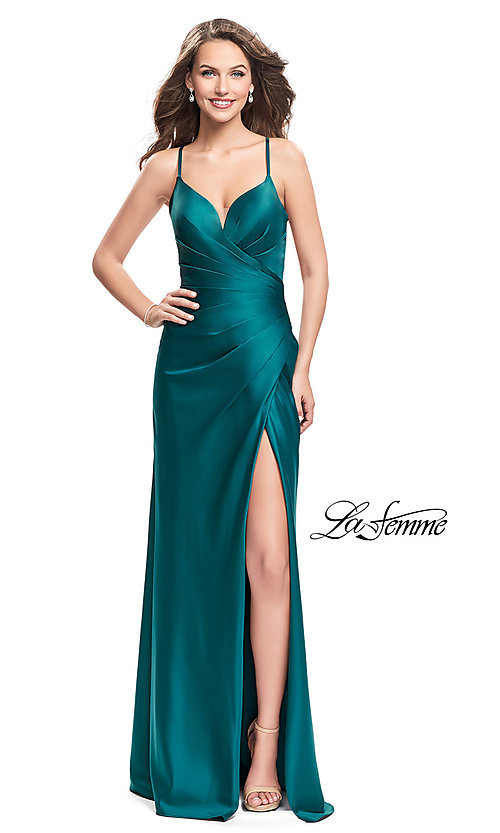 Image of La Femme ruched satin open-back formal prom dress. Style: LF-25270 Front Image