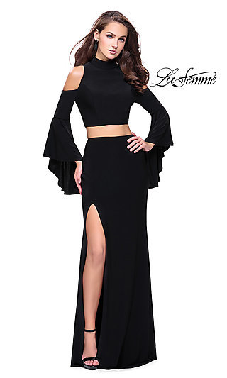 Two-Piece Long Cold-Shoulder Prom Dress