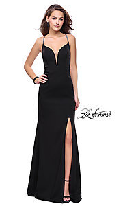 Image of open-back long La Femme formal prom dress. Style: LF-25398 Front Image