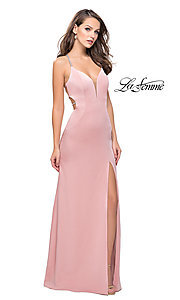 Image of open-back long La Femme formal prom dress. Style: LF-25398 Detail Image 1