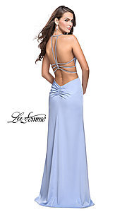Image of open-back long La Femme formal prom dress. Style: LF-25398 Back Image
