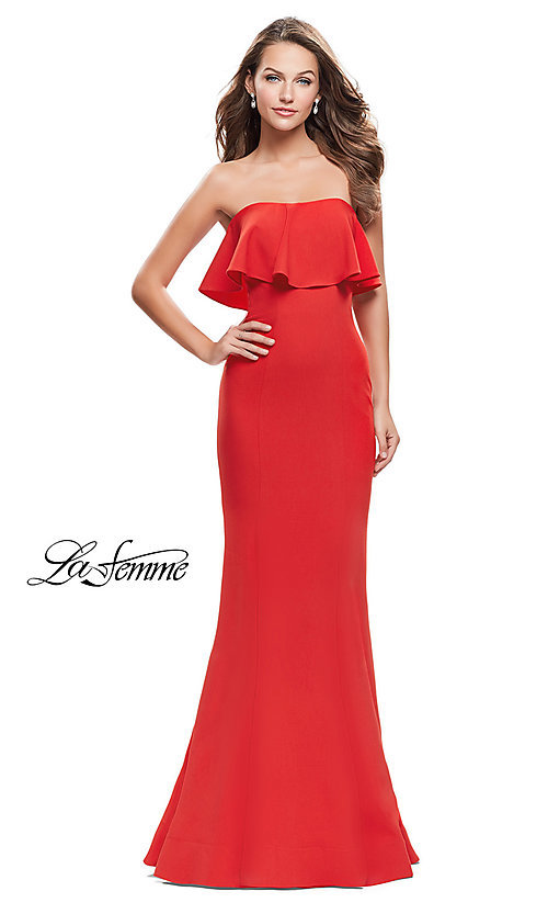 Image of long strapless La Femme prom dress.  Style: LF-25419 Front Image
