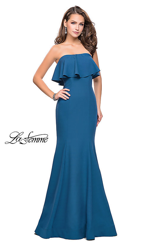 Image of long strapless La Femme prom dress.  Style: LF-25419 Detail Image 2