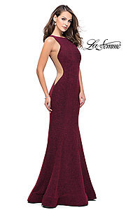 High-Neck Shimmer Prom Dress with Open-Back