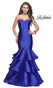 Image of strapless La Femme long mikado formal dress. Style: LF-25432 Detail Image 1